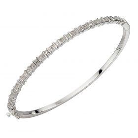 Baguette Bar Diamond Bangle in White Gold (GB484)