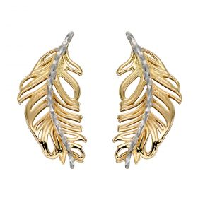 Feather Earrings in Yellow and White Gold (GE2339)