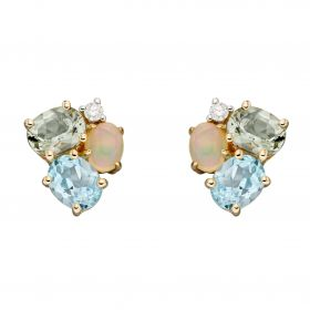 Opal, Blue Topaz and Green Amethyst Cluster Earrings (GE2369)