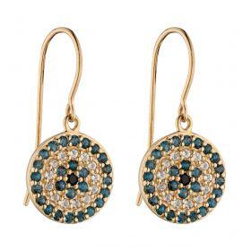 Evil Eye Drop Earrings with Semi-Precious Stones (GE2374)