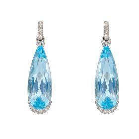 Blue Topaz Teardrop Earrings in White Gold with Diamonds (GE2385T)