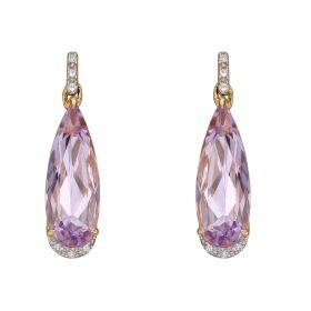 Elongated Pink Amethyst Teardrop Earrings with Diamonds in Yellow Gold (GE2386M)