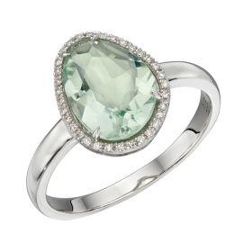 Green Fluorite Irregular Ring in White Gold (GR574G)