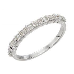 Baguette Bar Diamond Ring in White Gold (GR582)