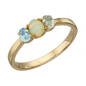 Opal, Blue Topaz and Green Amethyst Cluster Ring (GR583)