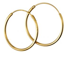 Yellow Gold Plated 16mm Plain Hoops (H252)
