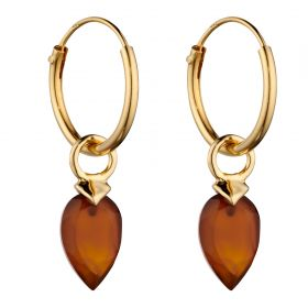 Yellow Gold Plated Birthstone Hoop Earring Charms with Chalcedony Stones