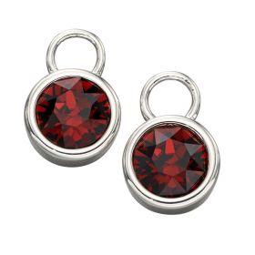 Silver Crystal Birthstone Hoop Earring Charms
