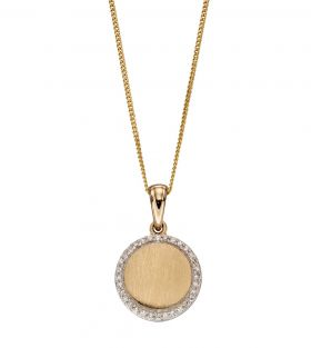 Diamond and Brushed Gold Disc Pendant (GP2236)