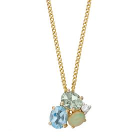 Opal, Blue Topaz and Green Amethyst Cluster Pendant